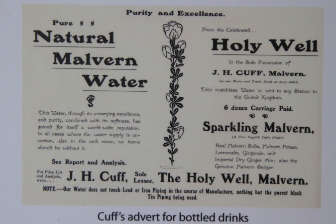 Advertisement for Malvern Water, Holy Well, Malvern Wells, Worcestershire, England