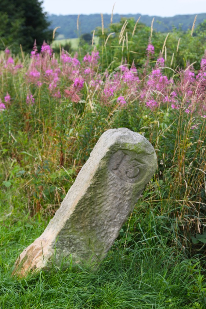 19th century mile marker on the Lancaster Canal, Lancashire, England