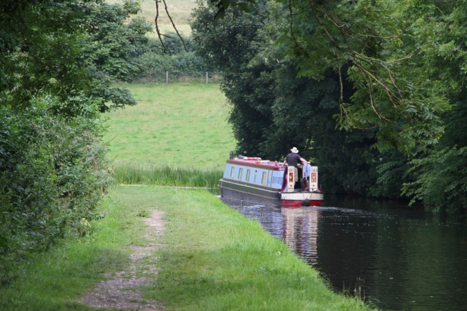 Canal boat, Lancaster Canal, Lancashire, England