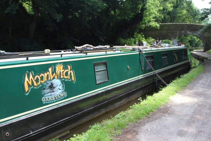 Moon Witch canal boat, Lancaster Canal, Lancashire, England