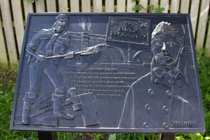 Plaque to John Rennie, Lancaster Canal, Lancashire, England