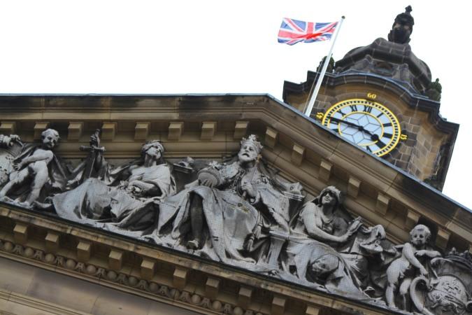 Detail on Lancaster City Hall, Lancashire, England