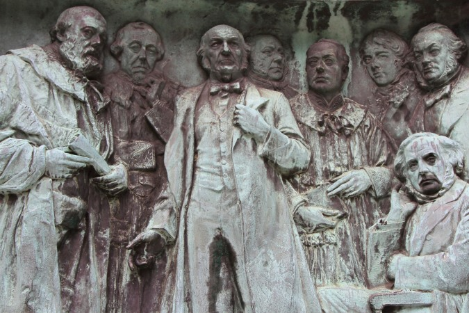 Salisbury, Disraeli, Gladstone and Palmerston in relief, Lancaster, Lancashire, England