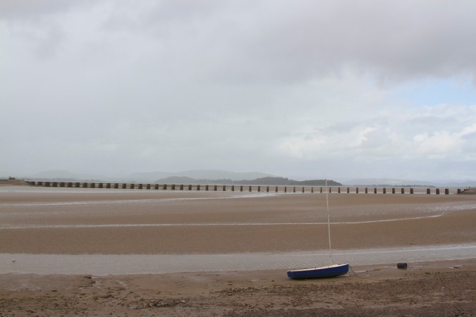 Arnside sands with viaduct, Cumbria, England