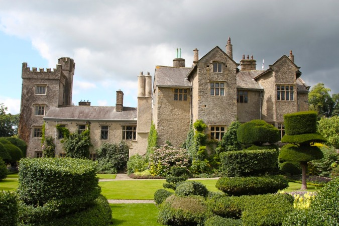 Levens Hall seen from the topiary garden, Levens, Cumbria, England