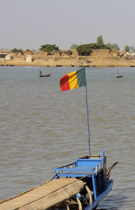 Boat with the Malian flag, Niger River, Mopti, Mali, Africa