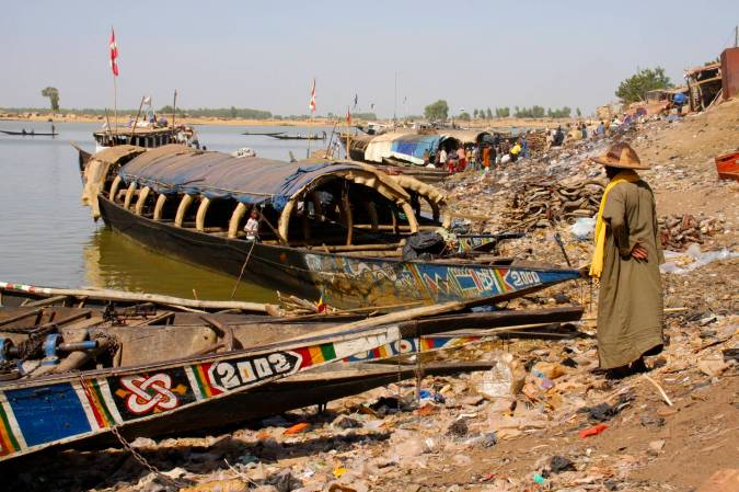 Boats on the Niger River, Mopti, Mali, Africa