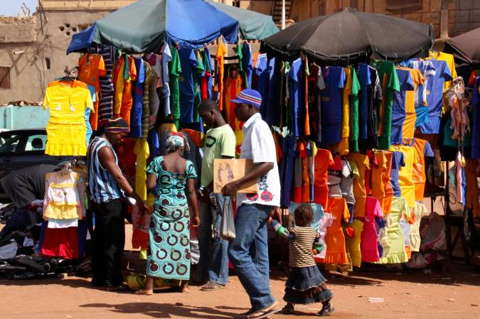 Clothes in the market, Mopti, Mali, Africa