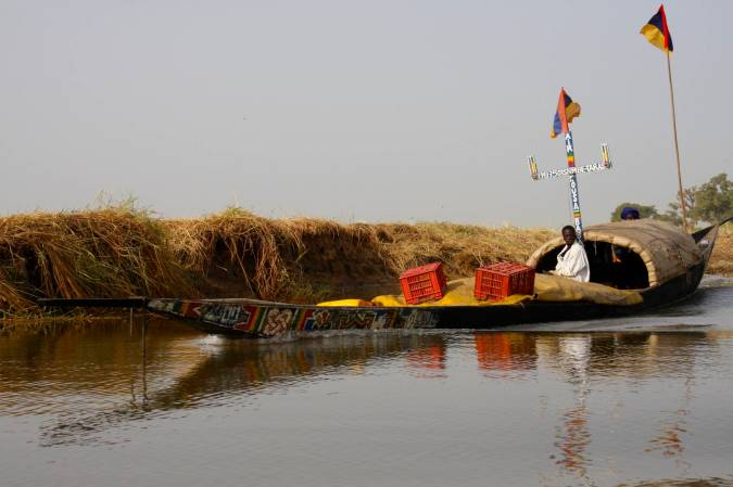 Boat on the Niger River, Mali, Africa