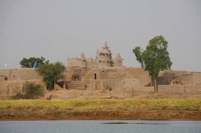 Village and mosque seen from the Niger River, Mali, Africa