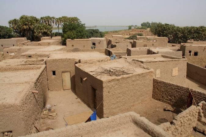 Village seen from the roof of the mosque, Niger River, Mali, Africa