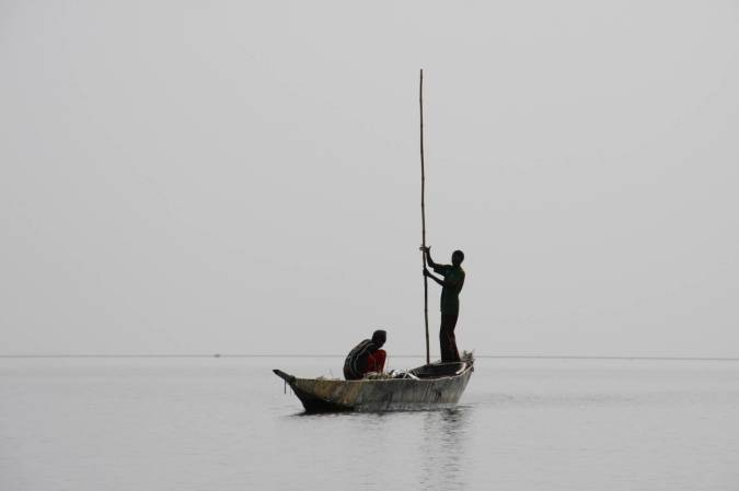 A boat on the Inner Niger Delta, Niger River, Mali, Africa