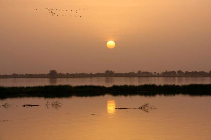 Sunset over the Niger River, Mali, Africa