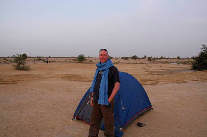 Camping on the banks of the Niger River, Mali, Africa