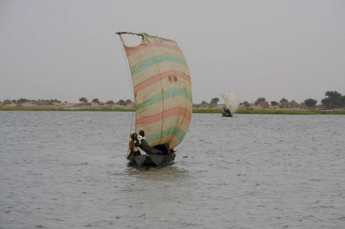 Sail boat on the Niger River near Tonka, Mali, Africa