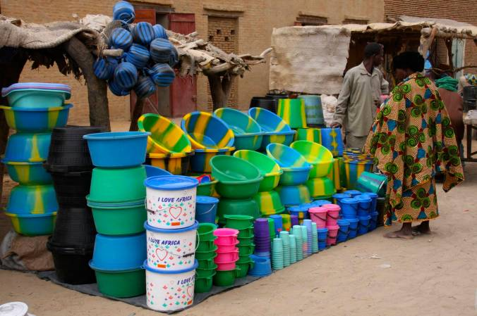 Buckets in the market, Timbuktu, Mali, Africa