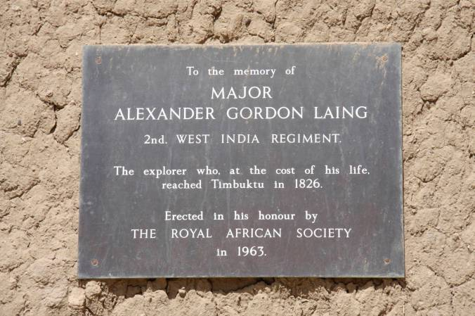 Plaque commemorating Major Alexander Gordon Laing, Timbuktu, Mali, Africa