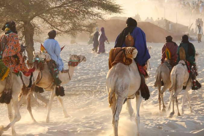 Tuareg arrive on camels at Essakane, home of the Festival au Désert, Mali, Africa