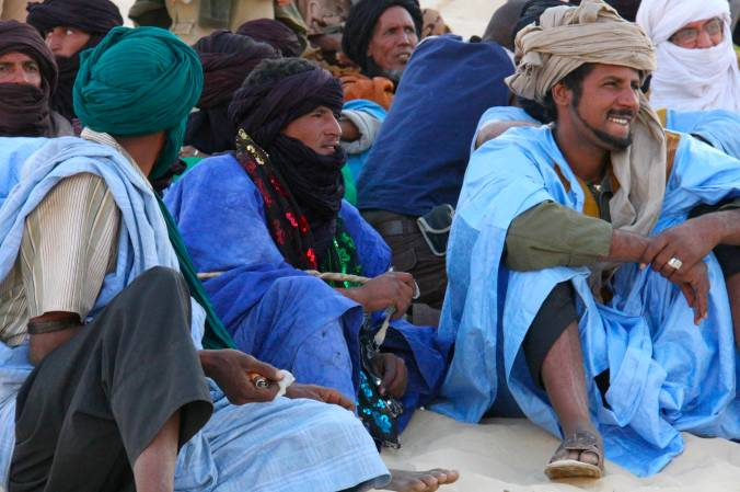 Tuareg watch the show at the Festival au Désert, Mali, Africa