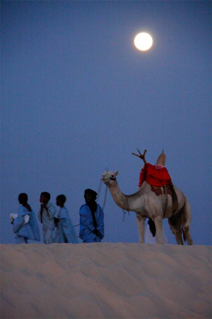 Moon over the desert, Sahara Desert, Mali, Africa