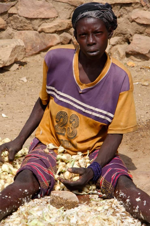 Women prepare onions in a Dogon village, Dogon Country, Mali, Africa