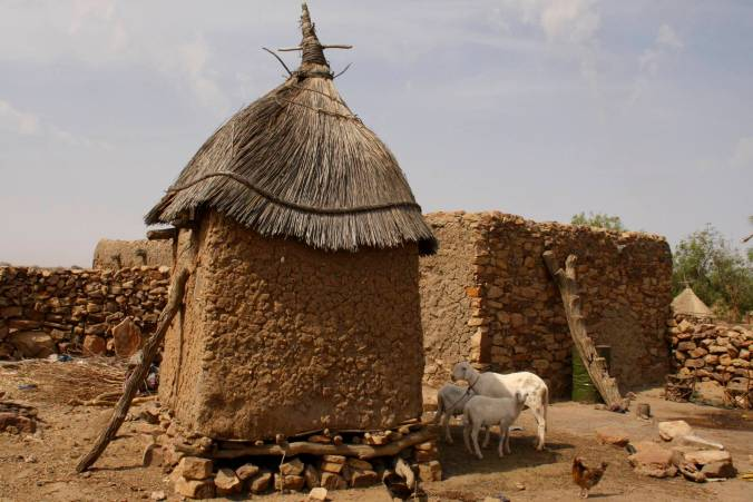 Typical Dogon village buildings, Dogon Country, Mali, Africa