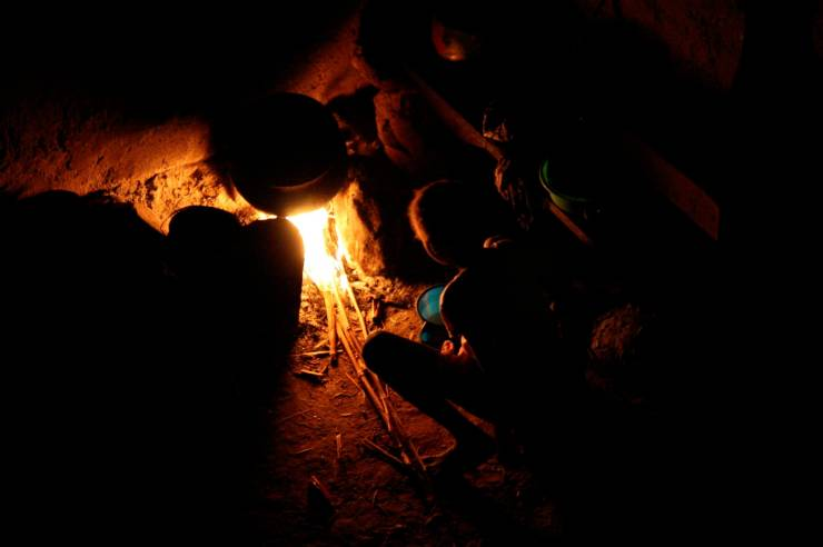 Night time fires in Ennde, Dogon Country, Mali, Africa