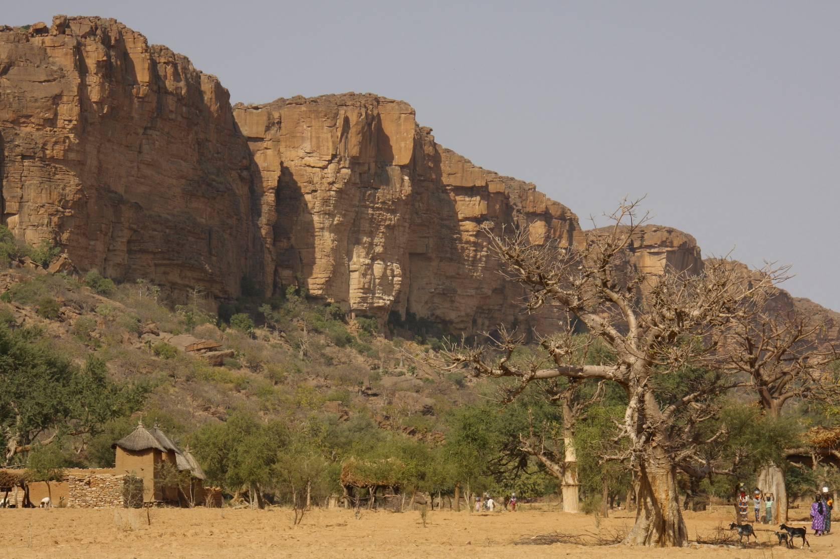 Village And Bandiagara Plateau Dogon Country Mali