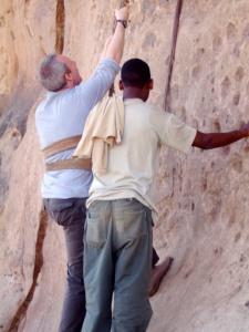 Contemplating the climb to Debre Damo Monastery, Ethiopia, Africa