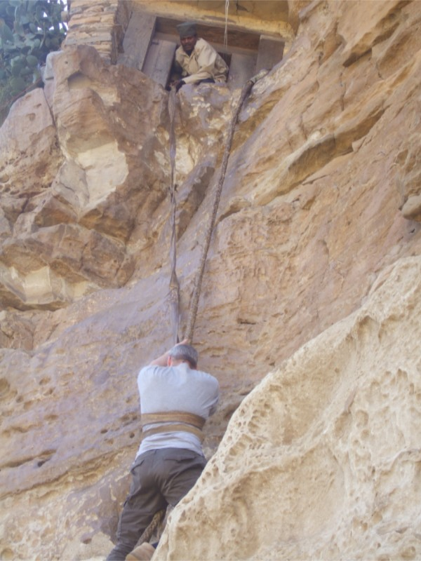 The climb to Debre Damo Monastery, Ethiopia, Africa