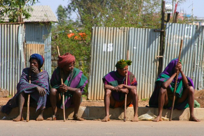 Men sitting by the road. Bahir Dar, Ethiopia, Africa