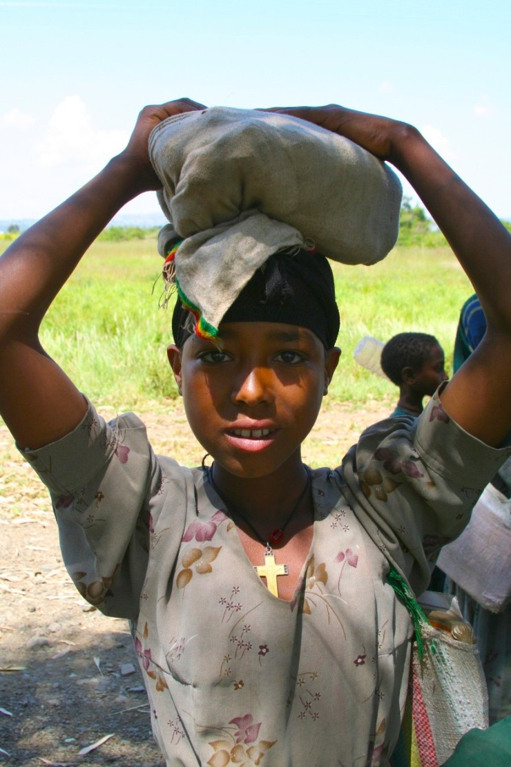 Young girl near Blue Nile Falls, Lake Tana, Ethiopia, Africa