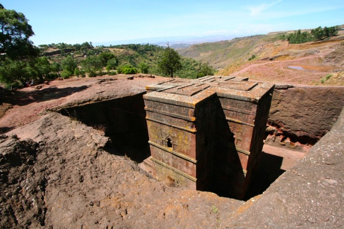 Rock-hewn Ethiopian Coptic church in Lalibela, Ethiopia, Africa