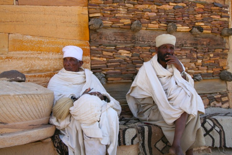 Priests outside Debre Damo Monastery, Ethiopia, Africa