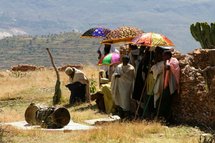 A woman's funeral at Debre Demo Monastery, Ethiopia, Africa