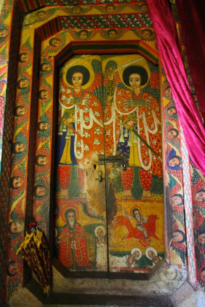 Painted doorway, Kebran Gabriel Monastery, Lake Tana, Ethiopia, Africa