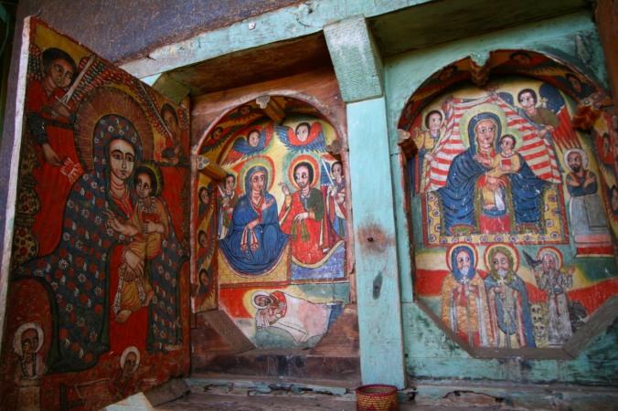 Paintings, Kebran Gabriel Monastery, Lake Tana, Ethiopia, Africa