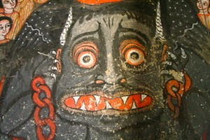 A painting of the Devil, Kebran Gabriel Monastery, Lake Tana, Ethiopia, Africa