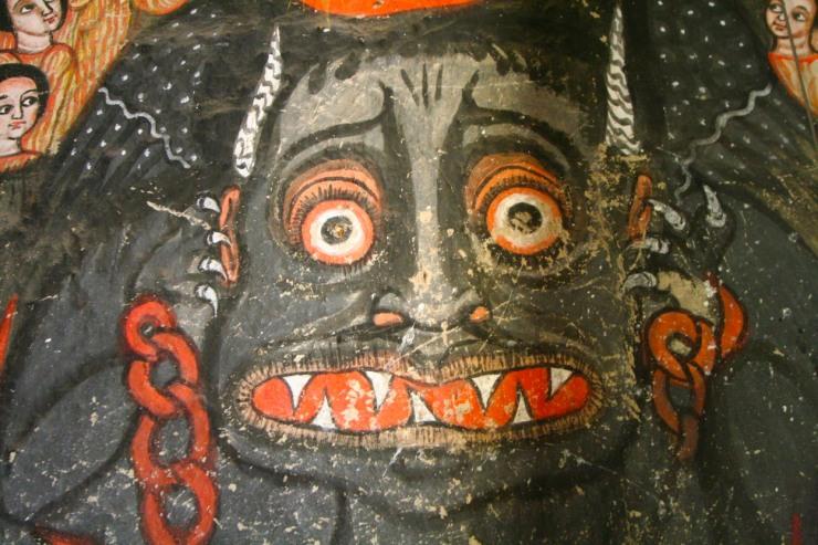 A painting of the Devil, Kebran Gabriel Monastery, Lake Tana, Ethiopia, Africa