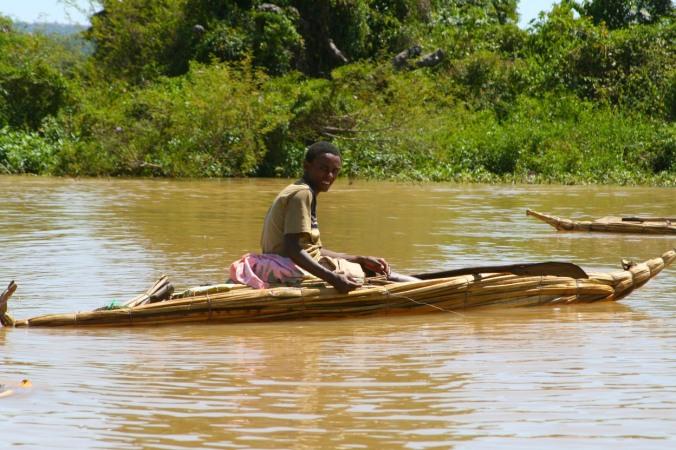 Tankwa traditional boat, Lake Tana, Ethiopia, Africa