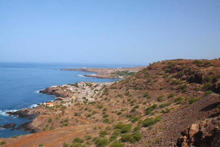 View of Cidade Velha with Fort Real de São Filipe (top right), Cape Verde, Africa