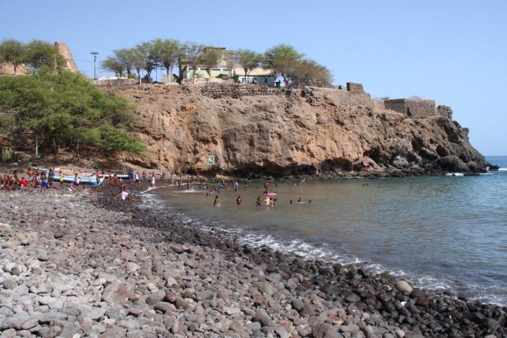 People swim in the ocean, Cidade Velha, Cape Verde, Africa