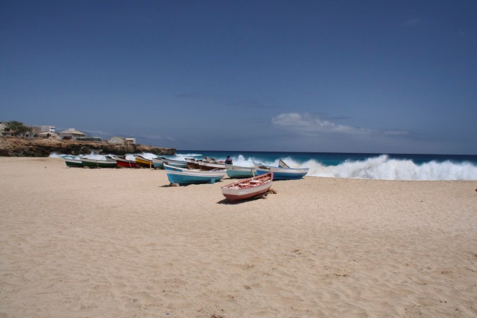 Boats on the beach at Vila do Maio, Maio, Cape Verde