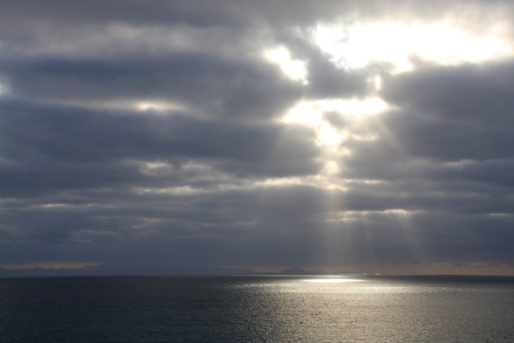 Clouds and light with Isla de Santiago from Maio, Cape Verde, Africa