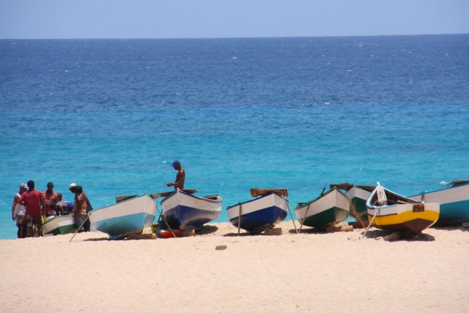 Fishermen on the beach at Vila do Maio, Maio, Cape Verde