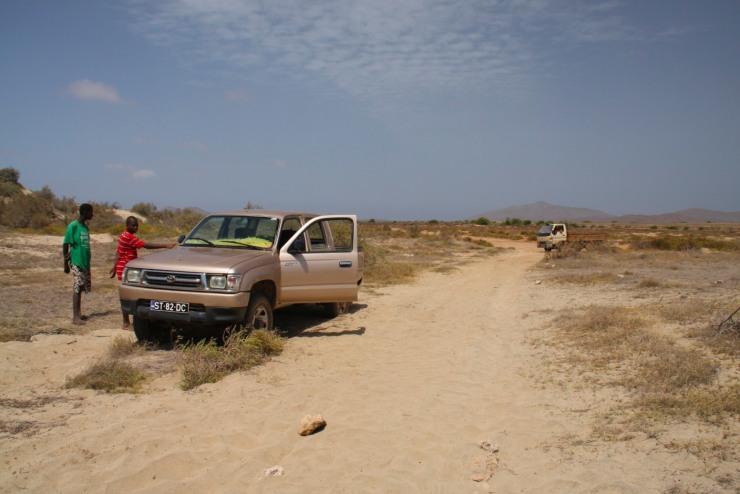 Car stuck in deep sand on Maio, Cape Verde, Africa