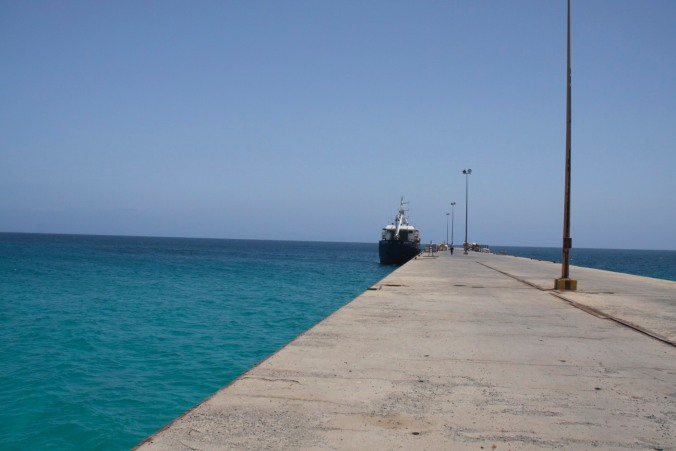 Cargo boat and public transport, Maio, Cape Verde, Africa