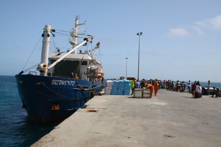 Cargo boat and public transport, Maio, Cape Verde, Africa