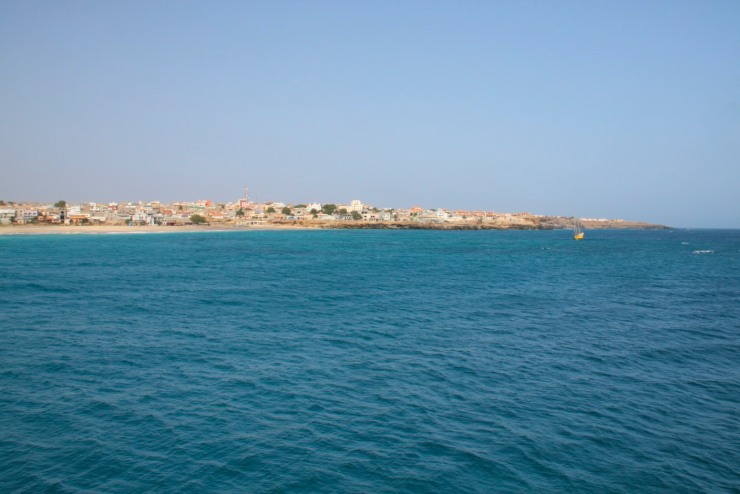 Vila do Maio from the cargo boat, Maio, Cape Verde, Africa