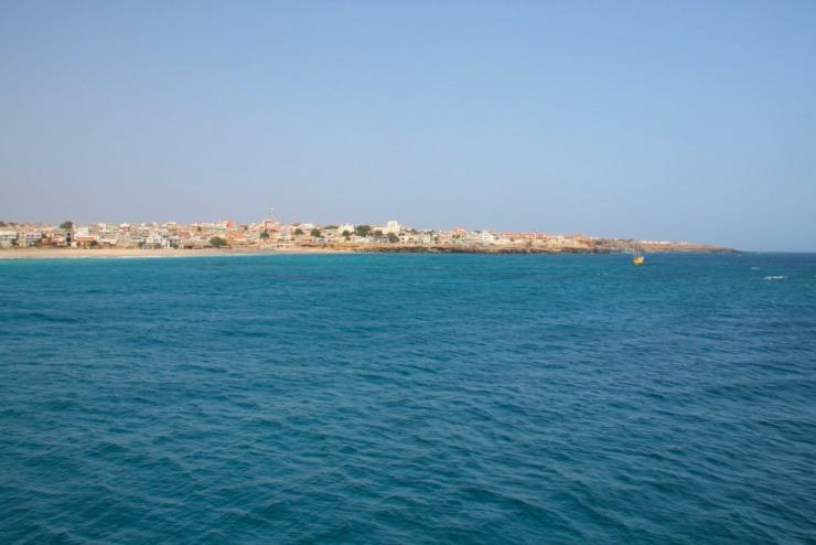 Vila do Maio from the cargo boat, Maio, Cape Verde, Africa